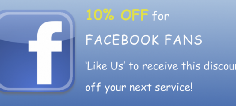 Discounts for Facebook fans!